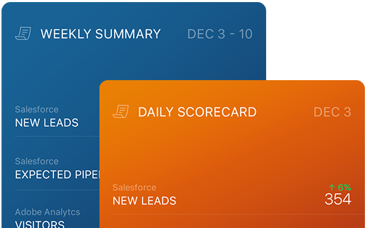 Databox scorecard of favorite metrics daily or weekly