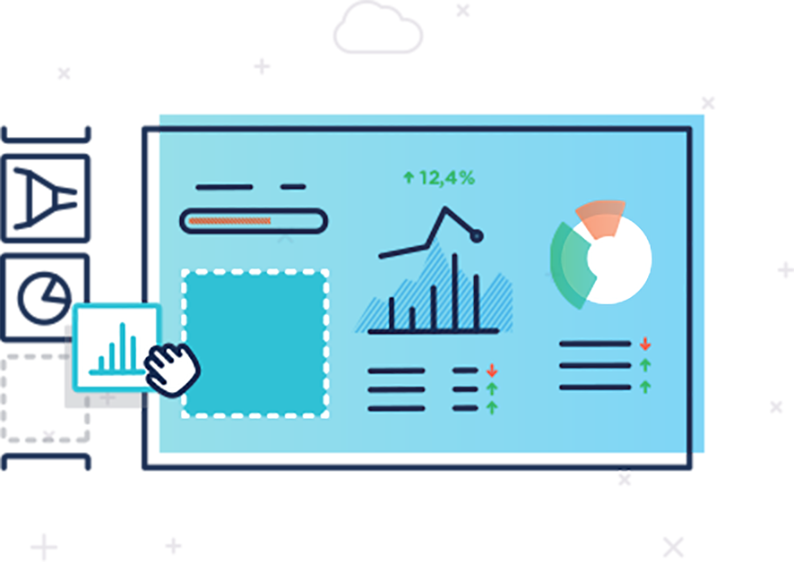 Databox drag-n-drop visualizations builder designer