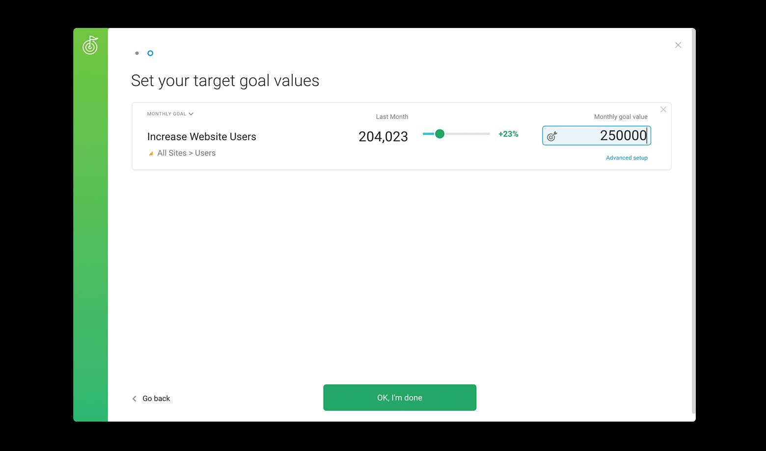 Set the goal value