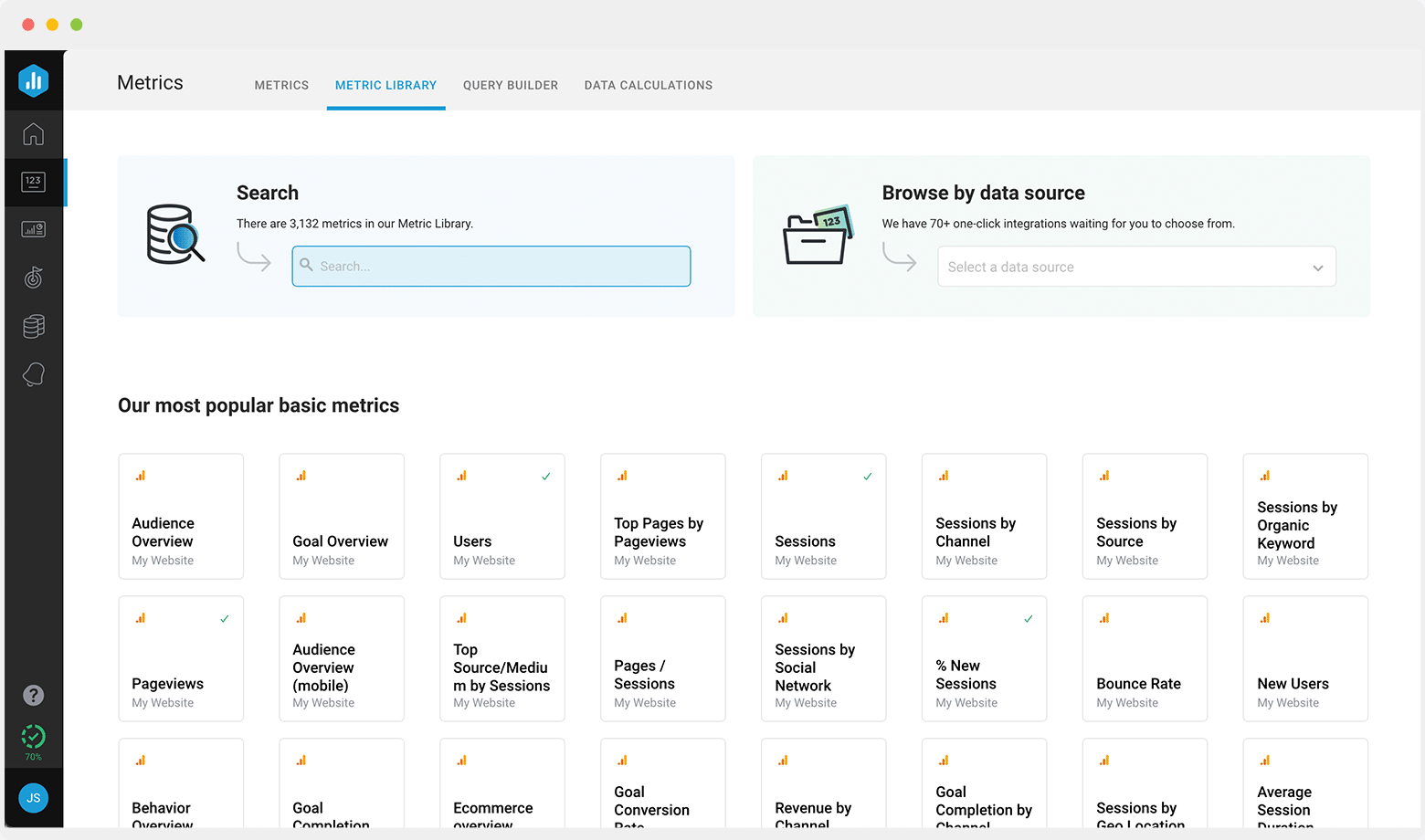 Browse the metric library to easily find the metrics you need to track