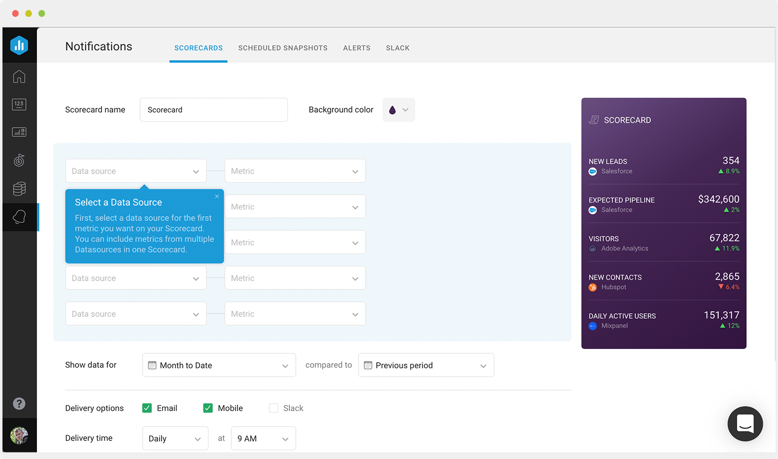 Select a data source or multiple sources