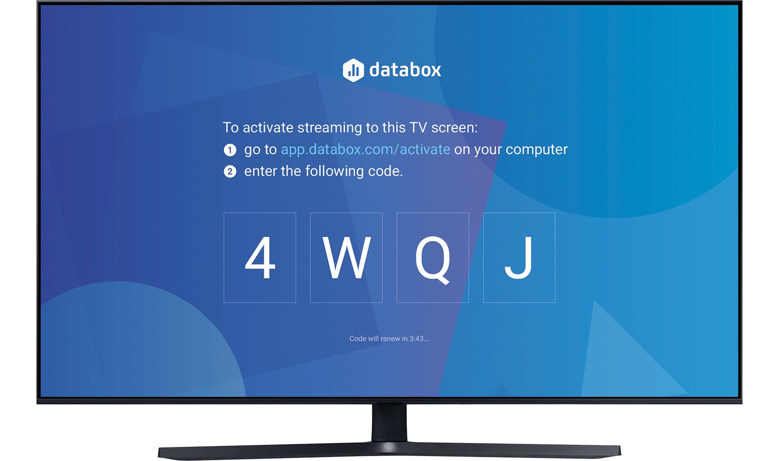 Visit tv.databox.com and receive your unique 4-digit code