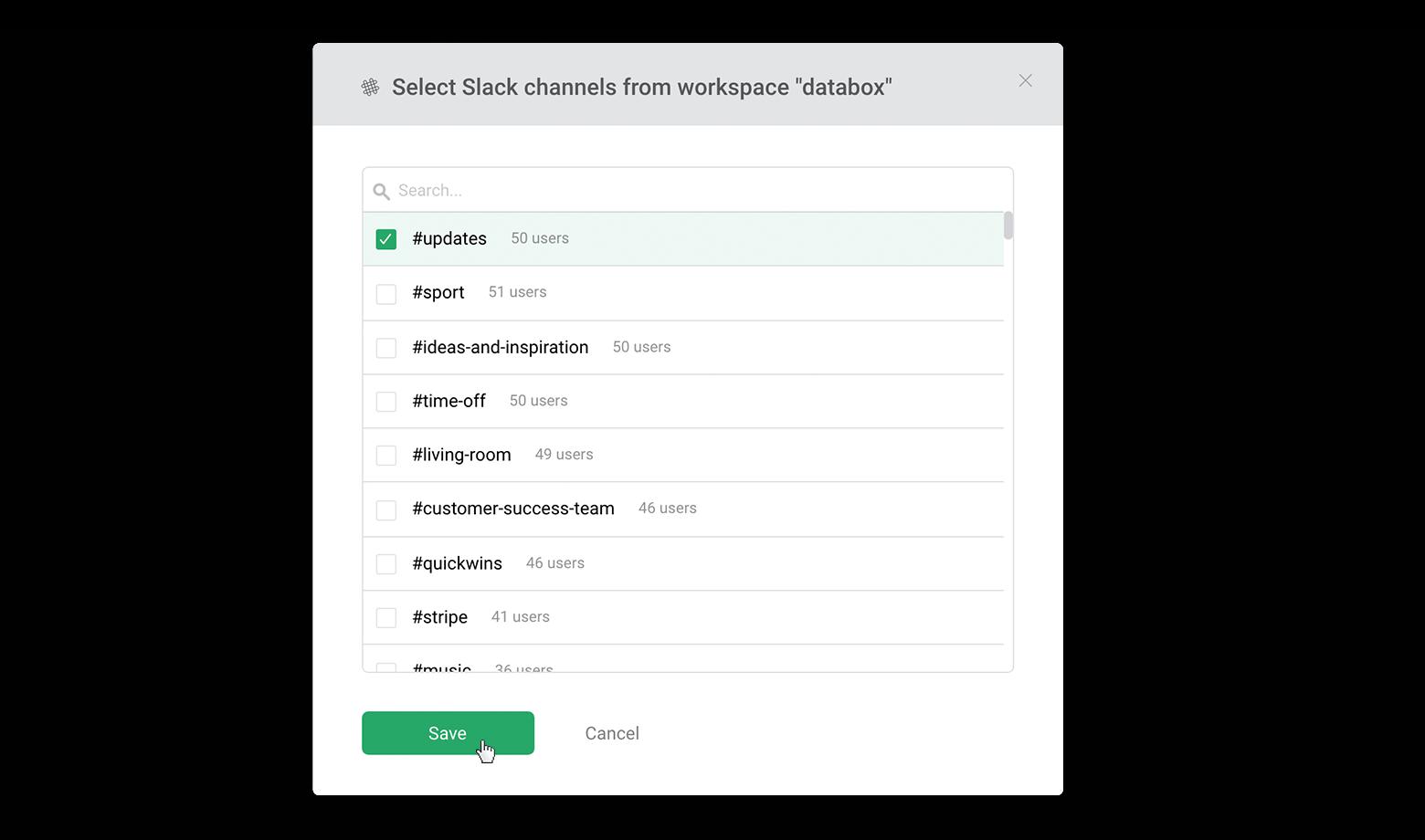 Choose the Slack channel(s)