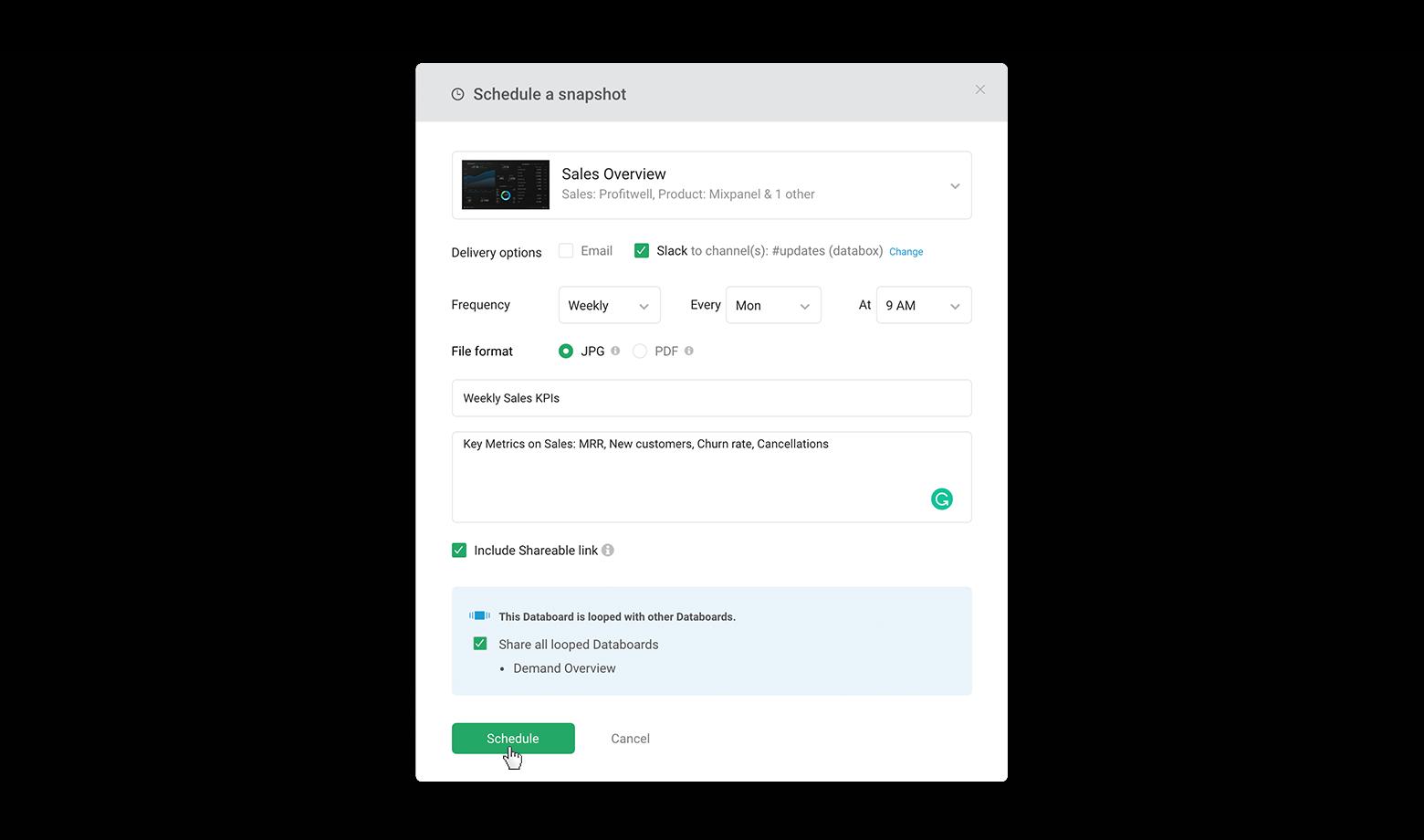 Enjoy regular dashboard insights in Slack!